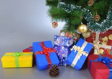 Free Presents Under The Tree! Stock Photography - 35651782