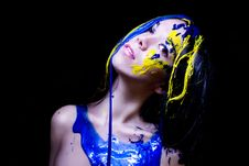 Free Beauty/fashion Close Up Portrait Of Woman Painted Blue And Yellow On Black Background Royalty Free Stock Photography - 35652047