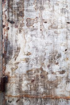 Old Shabby Metal Door With Traces From Welding Royalty Free Stock Photo