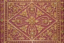 Free Pattern Stucco Gold Red Temple Wall Background Royalty Free Stock Image - 35657616
