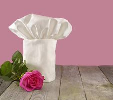 Chef S Toque With Pink Rose Royalty Free Stock Photos