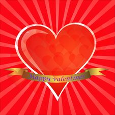 Free Valentines Day Paper Heart Card  Illustration Royalty Free Stock Photos - 35662108
