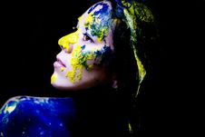 Beauty/fashion Close Up Portrait Of Woman Painted Blue And Yellow On Black Background Stock Photography