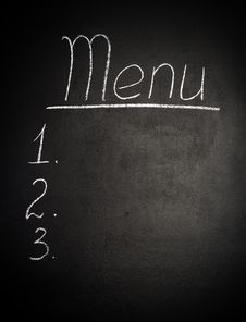Menu Is Written In Chalk On  Blackboard Stock Image