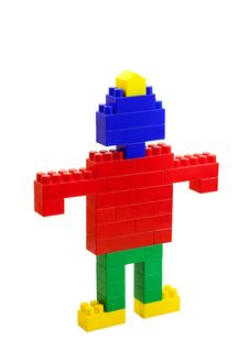 Toy Man Of Colored Blocks Closeup Royalty Free Stock Photos