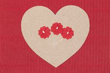Free Cardboard Heart With Paper Flowers On Red Background. Stock Images - 35668684