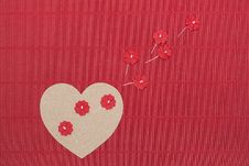 Free Cardboard Heart With Paper Flowers On Red Corrugated Background. Royalty Free Stock Photography - 35668737