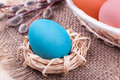 Free Easter Egg In Small Nest With Easter Basket And Willow Royalty Free Stock Images - 35672139