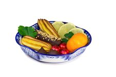 Free Cakes, Sweets, Fruit In A Vase, Painted In The Style Of The Royalty Free Stock Photography - 35673557
