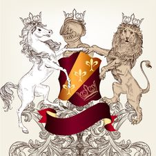 Design With Heraldic Horses   In Vintage Style Royalty Free Stock Photos