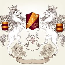 Free Design With Heraldic Horses   In Vintage Style Royalty Free Stock Photography - 35680747