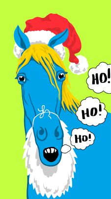 Free Christmas Blue Horse Stock Image - 35681511