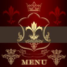Free Menu Design With Crown And Fleur De Lis  In Vintage Style Stock Images - 35681584