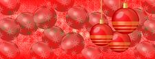 Christmas Wallpaper Red Baubles On Panaorama Banner Stock Image
