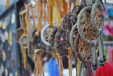 Free Native Crafts And Art Beautiful Dreamcatchers In Market Royalty Free Stock Photo - 35690575