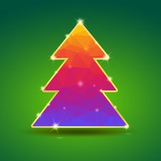 Free Creative, Bright Christmas Tree With Gold And Royalty Free Stock Photography - 35692027