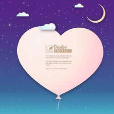 Paper Heart In The Clouds, Vector Background For Stock Images