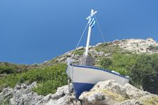 Free Greek Fishboat Royalty Free Stock Photo - 35695205