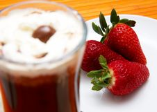 Cup Of Coffee And Strawberries Stock Photography