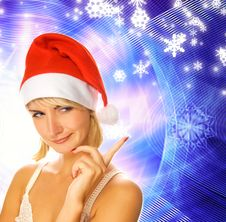 Free Girl In Christmas Hat Royalty Free Stock Photography - 3570957