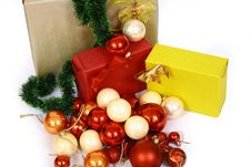 Free Christmas Balls On A White Bac Stock Images - 3570974