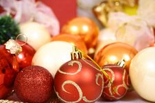 Free Christmas Balls On A White Bac Stock Photography - 3571152
