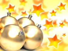 Golden Christmas Balls Stock Images