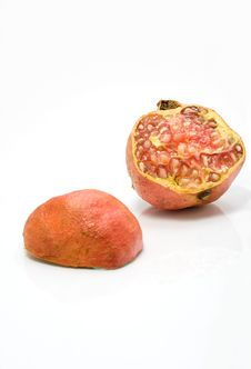 Two Halves Of Juicy Pomegranate Royalty Free Stock Images