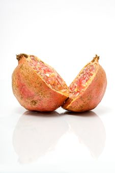 Two Halves Of Juicy Pomegranate Royalty Free Stock Photography