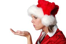 Free Santa Girl Blowing Wishes Stock Photography - 3575082