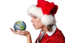 Free Santa Girl Blowing Wishes On E Royalty Free Stock Images - 3575089