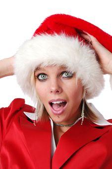 Free Beautiful Santa Girl With Hat Royalty Free Stock Photo - 3575095