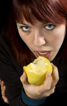 Free Girl Biting A Delicious Apple Stock Images - 3576284