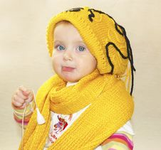 Free Little Girl And Yellow Cap Royalty Free Stock Image - 3576406
