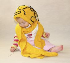 Free Little Girl And Yellow Cap Stock Image - 3576411