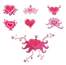 Set Of Valentine Hearts Royalty Free Stock Photography