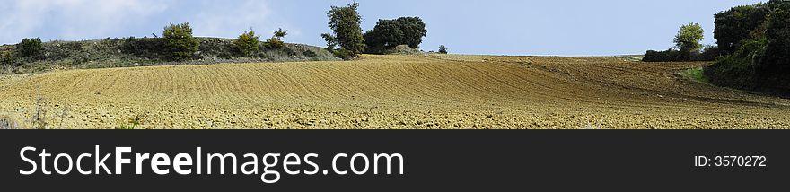 Panoramic farm lands