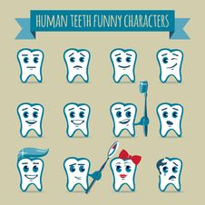 Free Set Of Human Teeth Funny Characters Royalty Free Stock Photo - 35700075