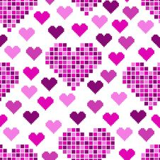 Seamless Pattern With Lots Of Pink Hearts Stock Images