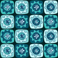 Free Seamless Pattern With Squares And Flowers Royalty Free Stock Photo - 35700425