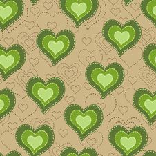 Free Seamless Pattern With Green Hearts Stock Photography - 35700432