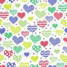 Free Seamless Background With Different Hearts Royalty Free Stock Image - 35700456