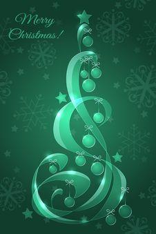 Glass Christmas Tree With Christmas Balls Royalty Free Stock Image