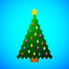 Free Christmas Tree With Decorations On Blue Background Royalty Free Stock Images - 35704579