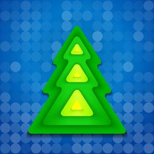 Free Abstract Rounded Green Christmas Tree On Blue Stock Photography - 35704592