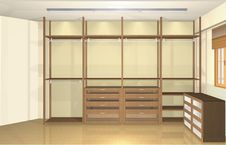 Free 3d Interior Design, Spacious Modern Dressing Room Royalty Free Stock Photography - 35704727