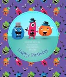 Free Hipster Monster Birthday Card. Vector Illustration Royalty Free Stock Image - 35707586