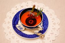 Free Herbal Tea Infusion In Antique China Teacup Royalty Free Stock Photography - 35707647