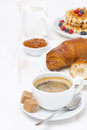 Free Sweet Breakfast With Black Coffee, Croissants And Jam Stock Photo - 35717080
