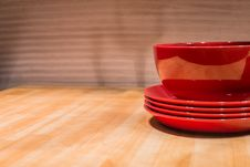 Free Red Breakfast Bowl On Table Royalty Free Stock Image - 35710646